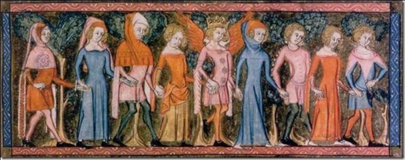 Sur cette fresque du Moyen Âge, quels personnages sont revêtus de bleu ?