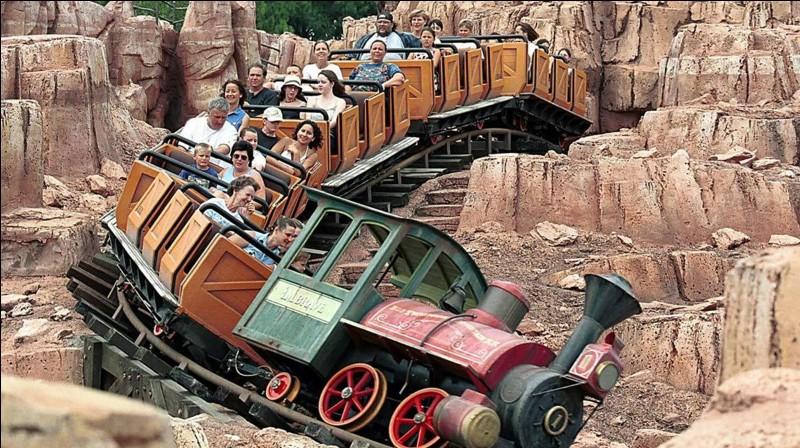 Sur cette photo, vous pouvez-voir le « Big Thunder Mountain Railroad », un manège du parc d'attractions Disney World, en Floride. Il possède une particularité assez surprenante !Quelle est cette particularité ?