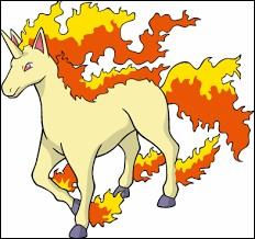 Quel est le nom de ce Pokémon de type feu de la première génération ressemblant à une licorne ?