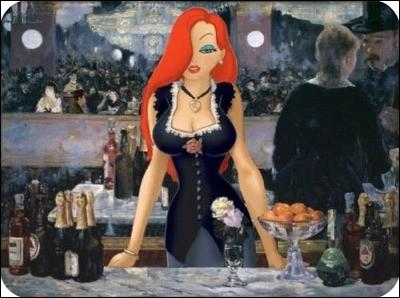 """Ce Tableaux s'intitule """"Un bar aux Folies Bergères""""."""