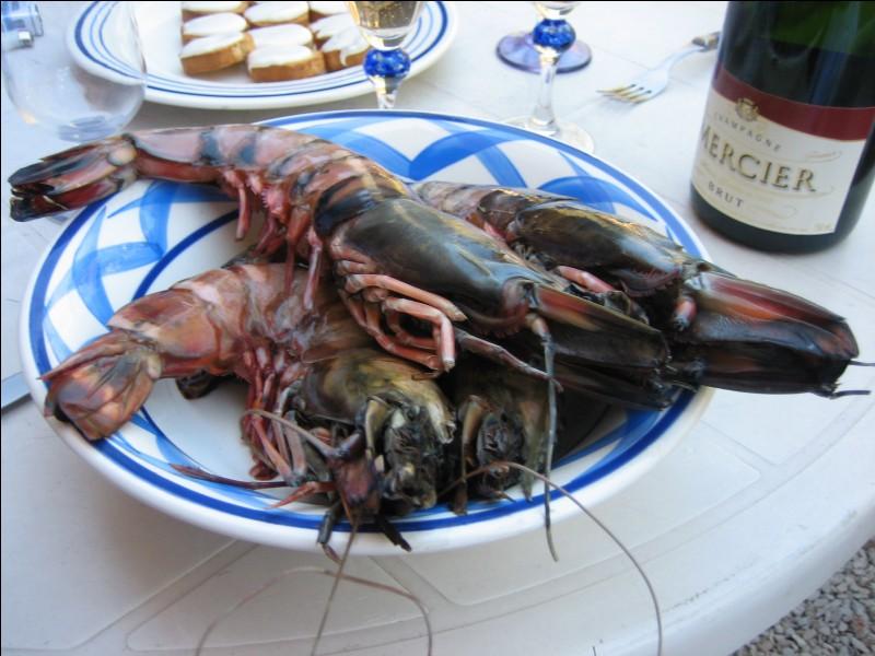 Quant à ces crustacés, je ne les trouvais que chez mon poissonnier dans le Var, ils arrivaient de Madagascar, frais et conservés en glacières ! Ils sont disposés dans un plat et non dans une assiette, ce sont des camerons :