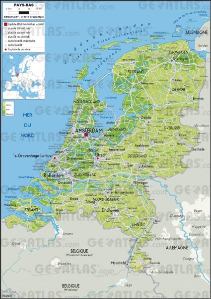 Partie 1 : Géographie. Quelle est la superficie totale des Pays-Bas ?