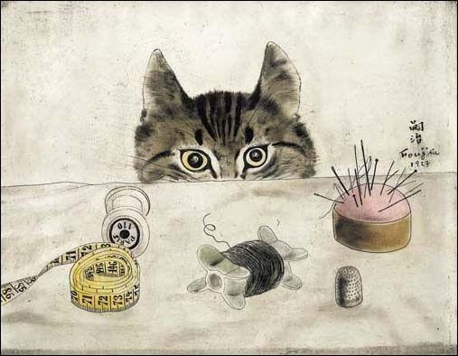 Quel artiste français d'origine japonaise, qui repose à Reims, dans la chapelle du même nom imaginée et peinte par lui-même à la fin de sa vie, a peint le ''Chat couturier'' ?