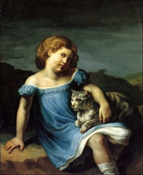 Principalement connu pour son tableau ''Le Radeau de la Méduse'', qui a peint en 1819 ''Louise Vernet enfant'', tableau dans lequel on retrouve un chat ?