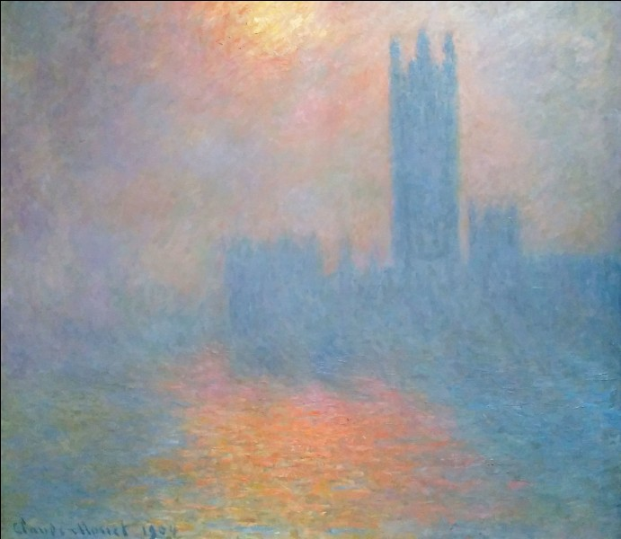 """Claude Monet """"Londres, ... . Trouée de soleil dans le brouillard"""" 1904. Qui ne connaît cette institution !"""