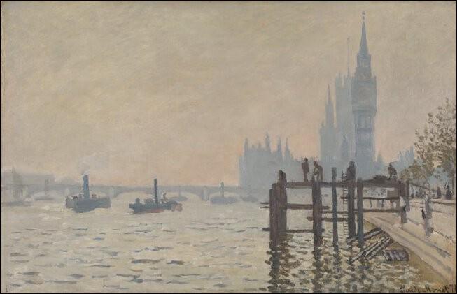 """Claude Monet """"La ... à Westminster"""" 1871.Et dire que nous voguions sur cette rigole, mille sabords !"""