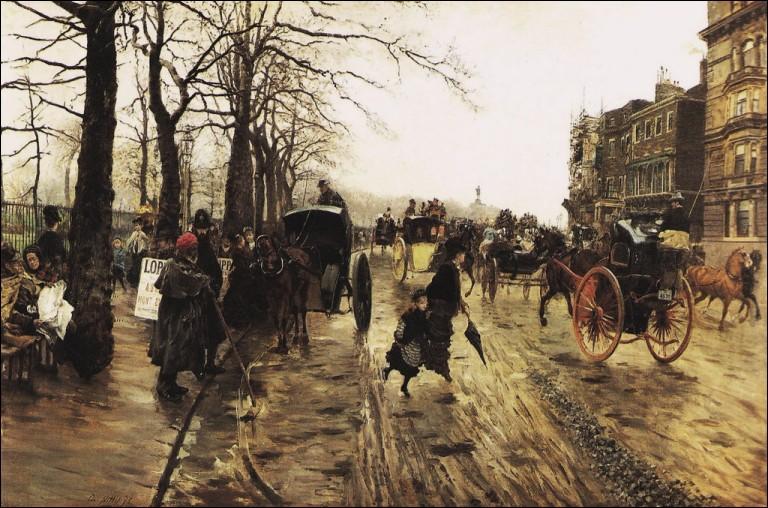 """Giuseppe de Nittis """"..., promenade hivernale à Londres"""" 1875. Ne dites pas que vous ne vous y êtes jamais baladé !"""