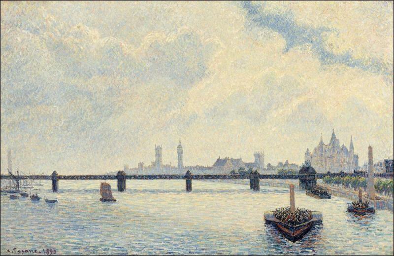 """Camille Pissarro """"... Bridge"""" 1890. Fameux ! Ce n'est pas où nous passions en métro ?"""