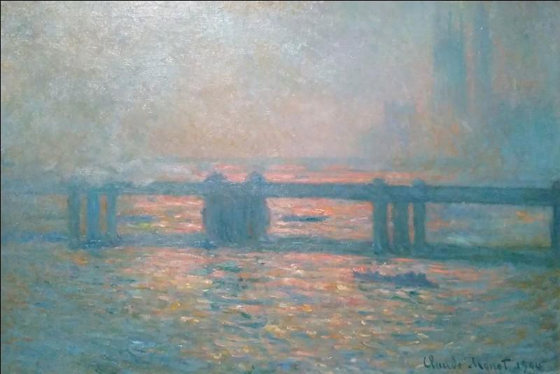 """Claude Monet """"Charing Cross Bridge"""" 1904À part son exil en 1870-71, combien de fois Claude Monet reviendra-t-il à Londres, en plein hiver, pour des séjours prolongés, entre 1899 et 1901 ?"""