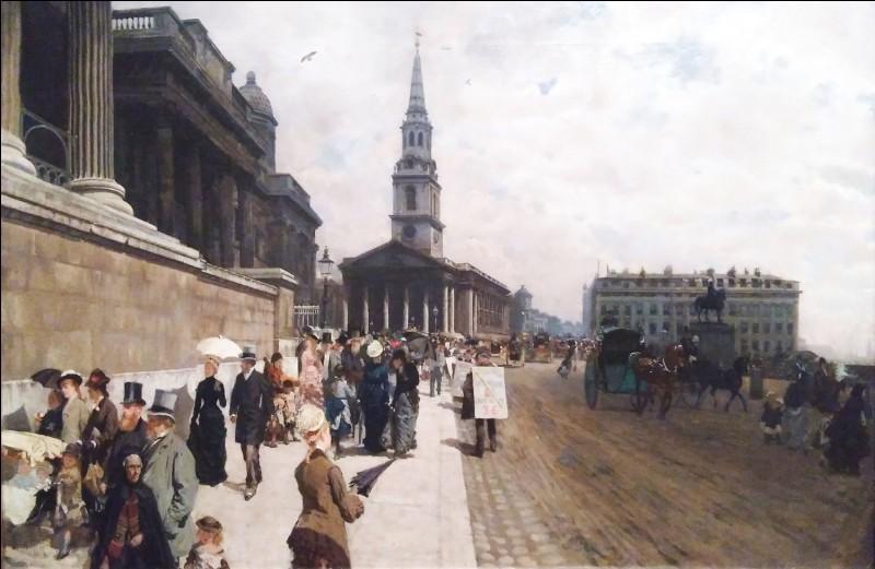 """Giuseppe de Nittis """"... in London"""" 1877.Trafalgar Square avec cette galerie exquise où l'artiste aurait souhaité voir ses œuvres !"""