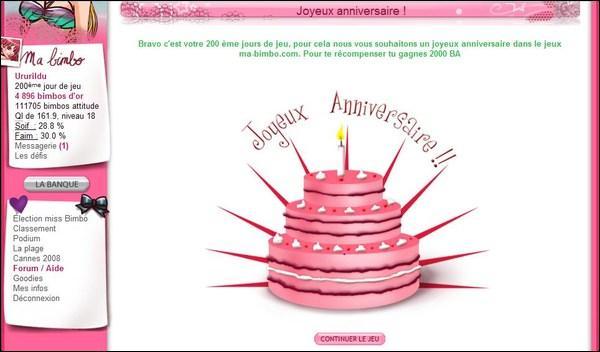 Sur quel site trouve-t-on cette page le jour de notre anniversaire ?