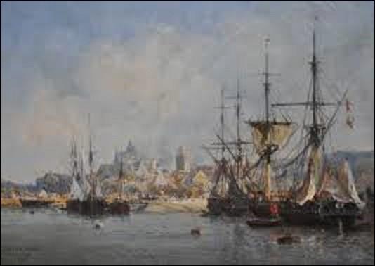 J'admets que cette question n'est pas facile. En 1877, quel peintre paysagiste et de marines a peint cette toile intitulée ''Le port de Fécamp'' ?