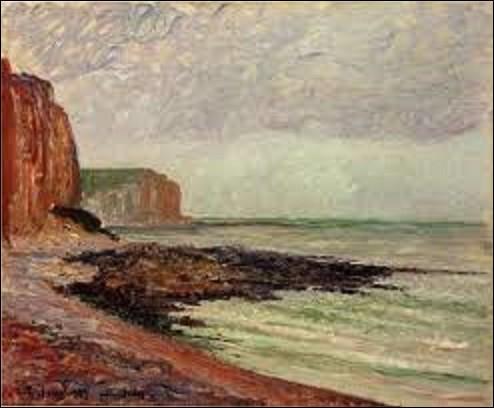 Quel impressionniste a peint ce tableau nommé ''Les Falaises des Petites Dalles'', en 1883 ? (Les Petites Dalles est un hameau partagé entre les communes de Seine-Maritime de Sassetot-le Mauconduit et Saint-Martin-aux-Buneaux).