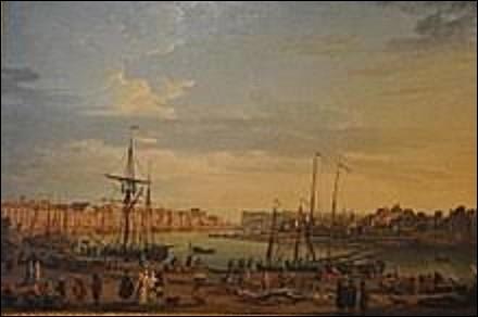''Vue du port de Dieppe'' est une oeuvre datée de 1765 se situant au musée national de la Marine, et exposée depuis 1943 dans l'aile Passy du Palais de Chaillot à Paris. Pourriez-vous me citer le nom du dessinateur et graveur, célèbre pour ses marines, qui a peint cette scène ?