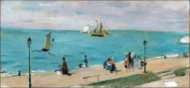 Vers 1873, quelle femme de mouvement impressionniste a peint cette scène intitulée ''La plage des Petites-Dalles'' ?