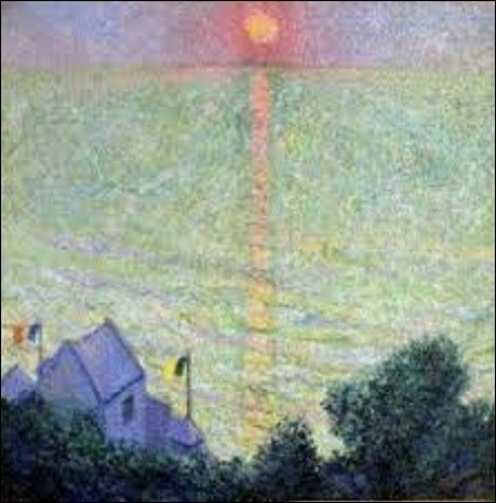 Quel est le nom de ce peintre impressionniste américain (1861-1936) qui a peint, en 1909, cette oeuvre nommée ''Coucher de soleil à Veules-les-Roses'' ?