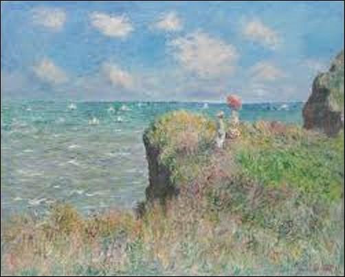 Et terminons avec le même peintre impressionniste que la question n°1, amoureux de cette côte et de la beauté de ses falaises blanchâtres qui se reflètent si joliment dans la mer. (Et j'espère, à travers ce quiz, vous avoir donné l'envie de découvrir ou redécouvrir ce lieu si magnifique.) Donc, quel artiste a peint cette toile intitulée ''Promenade sur la falaise de Pourville'', en 1882 ?