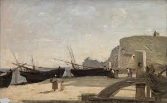 Conservé au musée d'art de Saint-Louis, dans le Missouri (États-Unis), ''La Plage, Étretat'' est un tableau réalisé par un peintre fondateur de l'école de Barbizon. Quel est le nom de l'artiste qui a peint ce paysage en 1872 ?