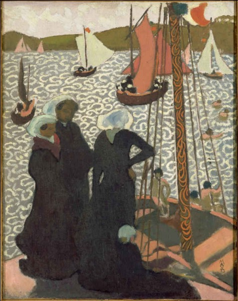"""Cette œuvre de Maurice Denis révèle l'influence d'une école d'estampes de la période d'Edo privilégiant les sujets légers et les paysages, du nom de l' / du ... (""""peinture du monde qui passe"""")."""