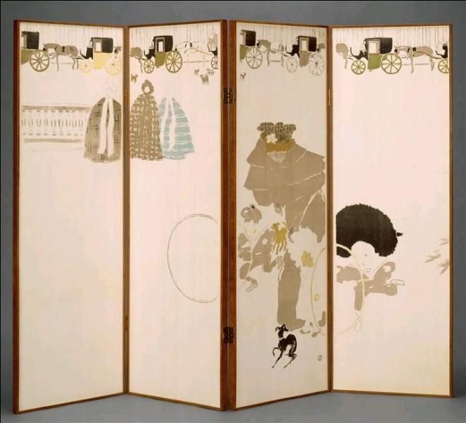 """Surnommé """"..."""" , Pierre Bonnard crée un paravent à quatre feuilles jouant sur l'asymétrie, sur les vides et les pleins."""
