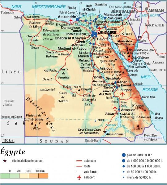 Quelle mer borde l'Égypte au nord ?