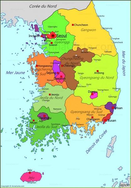 Sur quel continent retrouve-t-on la Corée du Sud ?