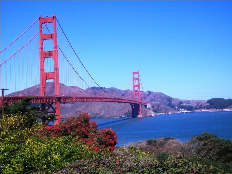 Voici le pont le plus connu au monde, la Golden Gate bridge, surplombant la baie de San Francisco.