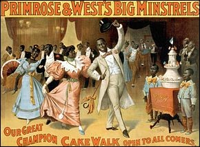 Le cake-walk est une danse populaire née parmi les Noirs de Virginie, pour imiter avec ironie l'attitude de leurs maîtres se rendant aux bals.