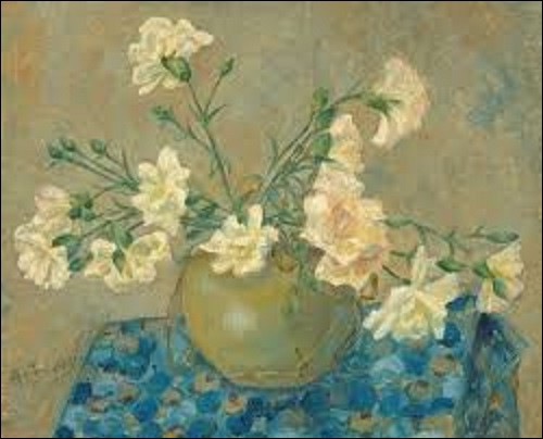Peinture : quel peintre impressionniste, puis luministe, et mécène belge a peint cette toile intitulée ''Un bouquet d'œillets'', vers 1910 ?