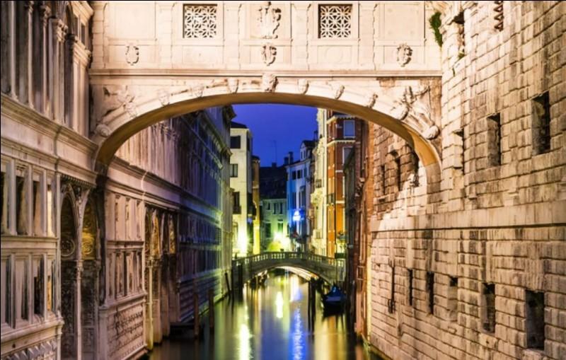Ce pont sur le Rio de Palazzo reliait deux anciennes prisons du Palais des Doges. C'est en pensant aux cris étouffés des condamnés qui y circulaient qu'on l'a ainsi nommé : il était aussi surnommé le sarcophage volant. Comment s'appelle ce si bel endroit et ce si triste lieu ?