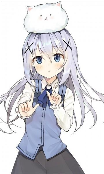 """Dans """"Gochuumon wa usagi desu ka"""", comment s'appelle le lapin qui est sur la tête de Chino ?"""