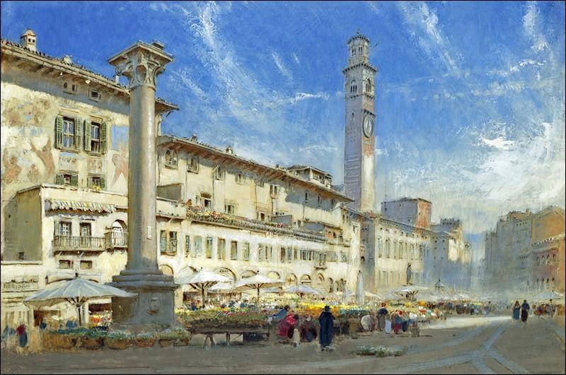 """Cette tour jouxte la place la plus animée, avec son marché aux herbes, l'hôtel de ville, les maisons Mazzanti décorées de fresques, le palais baroque Maffei orné de statues de dieux grecs, la fontaine surmontée d'une statue appelée """"Madonna Verona"""" et une colonne de marbre blanc surmontée d'un lion de saint Marc..."""