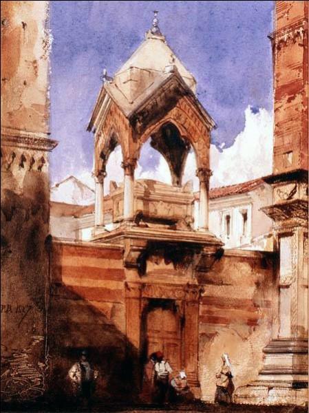 """Une famille de noblesse, non-originaire de Vérone mais fidèle aux Scaligeri, est associée au premier exemple d'arche monumentale appelée """"canopée"""". Quel est le nom donné à la belle arche de sépulcre jouxtant l'église Sant'Anastasia ?"""