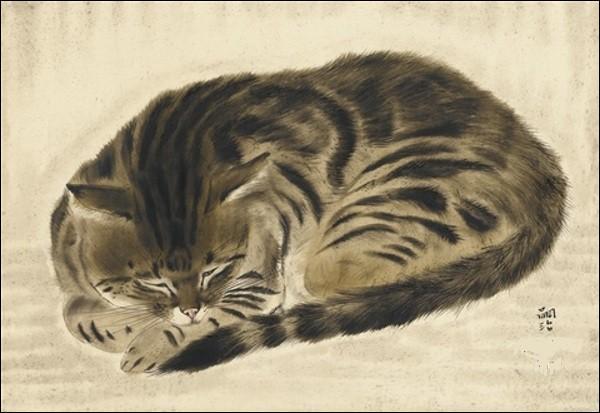 Quel artiste français d'origine japonaise né à Tokyo a peint ce chat de gouttière qu'il a adopté et baptisé ''Miké'', mot signifiant tricolore en japonais ?