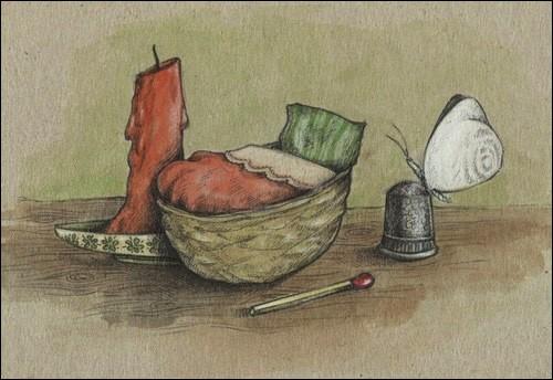 Dans un conte connu, à qui une coquille de noix servait-elle de berceau ?