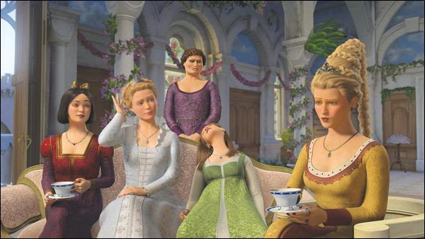 Quel personnage féminin ne fait pas partie de la scène lors de l'évasion de Fiona dans Shrek le Troisième ?