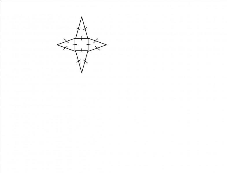Sur cette photo, il y a une étoile qui a un carré de périmètre de 36 cm. Trouvez le périmètre de l'étoile.