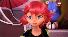 """Je suis un personnage féminin de la série d'animation """"Miraculous, les aventures des Ladybug et Chat-Noir"""", qui a des cheveux roses et qui fait du roller. Qui suis-je ?"""