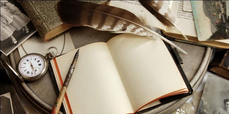 Quel est le nom de cet interprète en voyant l'image de ce cahier et de cette plume ?