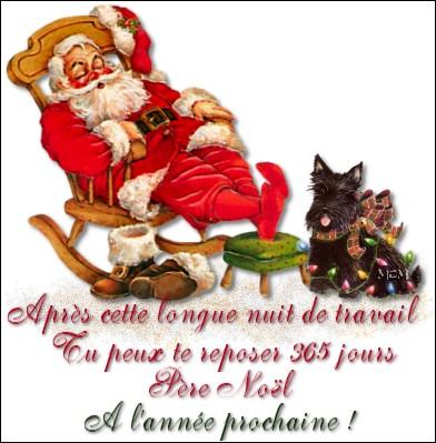 Après avoir distribué tous les cadeaux, le père Noël est fatigué, il est [...] et doit se reposer.