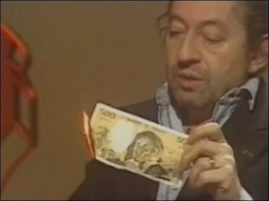 Pour quelle raison Serge Gainsbourg, le 11 mars 1984 brûle-t-il à la télévision un billet de 500 francs ?