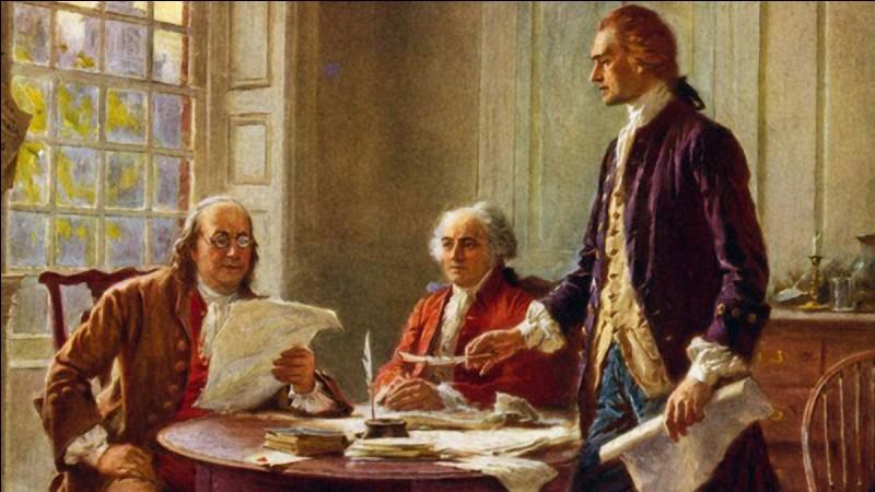 Il a rédigé la Déclaration d'indépendance et a aidé à donner forme à la Constitution américaine. Sans oublier qu'il a été secrétaire d'État, vice-président et troisième président de ce nouveau pays. On le voit ici debout aux côtés de John Adams et Benjamin Franklin :