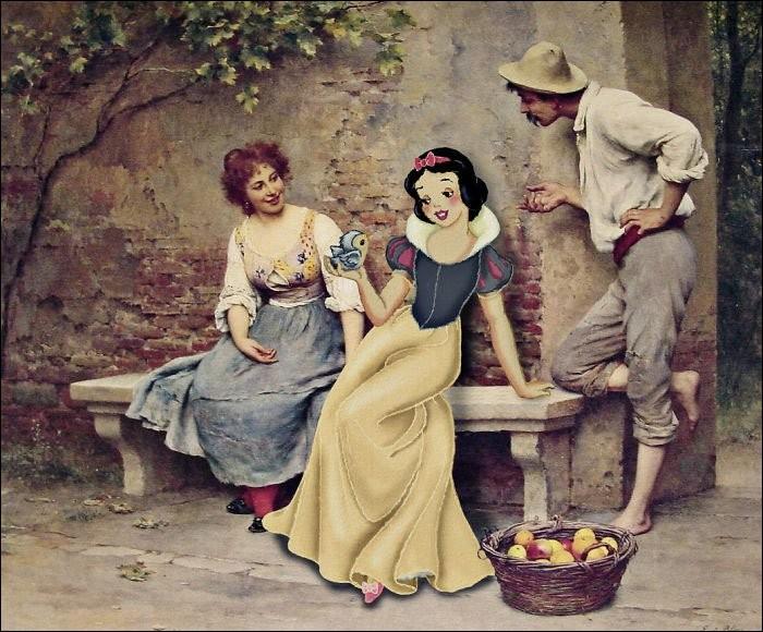 Blanche-Neige aurait-elle trouvé son prince, paraissant bien charmant dans le tableau d'Eugène de Blass, mais est-il honnête ? Ne ferait-il pas que conter fleurette ?Quel est le titre ?