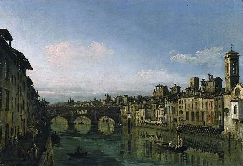 Après la destruction, par le fleuve, de sa première construction en bois, le Ponte Vecchio fut reconstruit en pierre en...