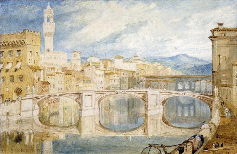 Cette veduta de 1818 est une aquarelle de [...] un des artistes ayant séjourné à Florence.