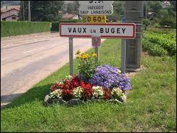 Nous sommes l'entrée de Vaux-en-Bugey (Ain), village où les habitants portent le gentilé ...