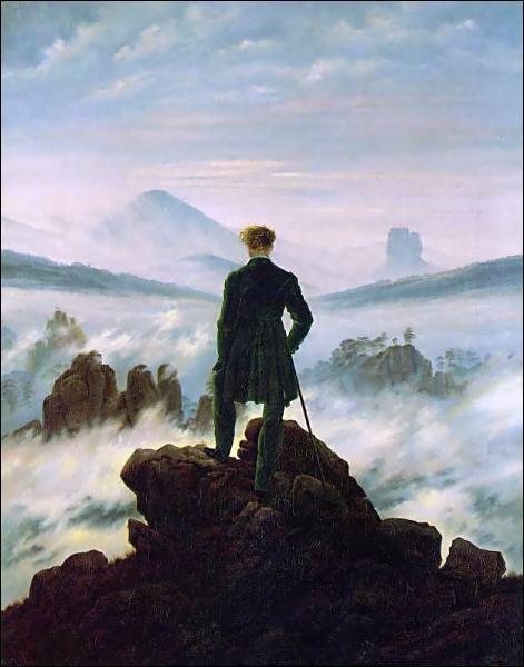 Cette oeuvre, intitulée 'Le Voyageur au dessus de la mer des nuages', est un peu le symbole du mouvement romantique. Qui est son auteur ?