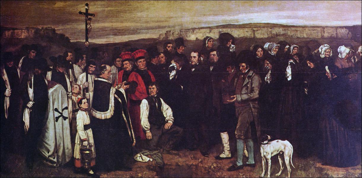 L'artiste qui a peint ce tableau, intitulé 'Un Enterrement à Ormans', a grandement contribué à promouvoir le mouvement en créant 'Le Pavillon de Réalisme'. Cet artiste est ...