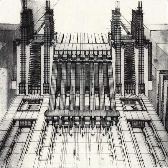 Enfin, Antonio Sant'Elia était un architecte futuriste. Il a imaginé une ville idéale moderne, dont voici l'un des dessins, qu'il a nommée ...