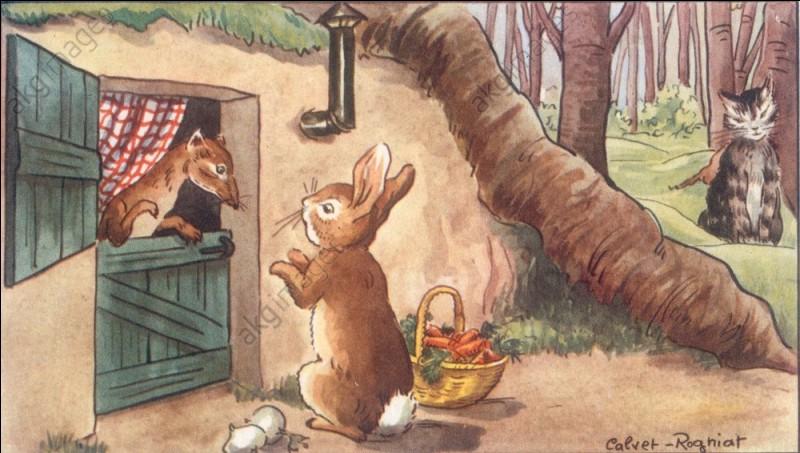 Qui est aux côtés du chat et du petit lapin dans cette fable ?